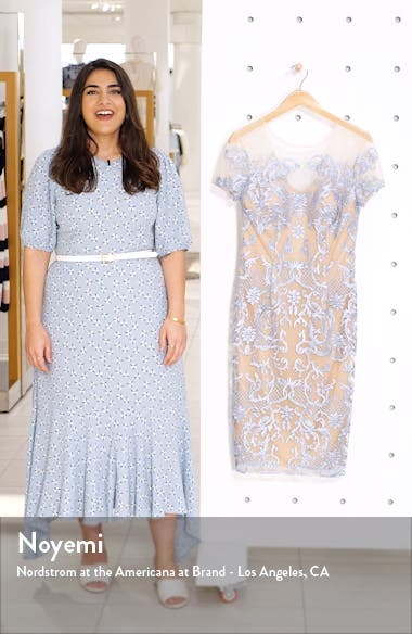 Embroidered Mesh Sheath Dress, sales video thumbnail