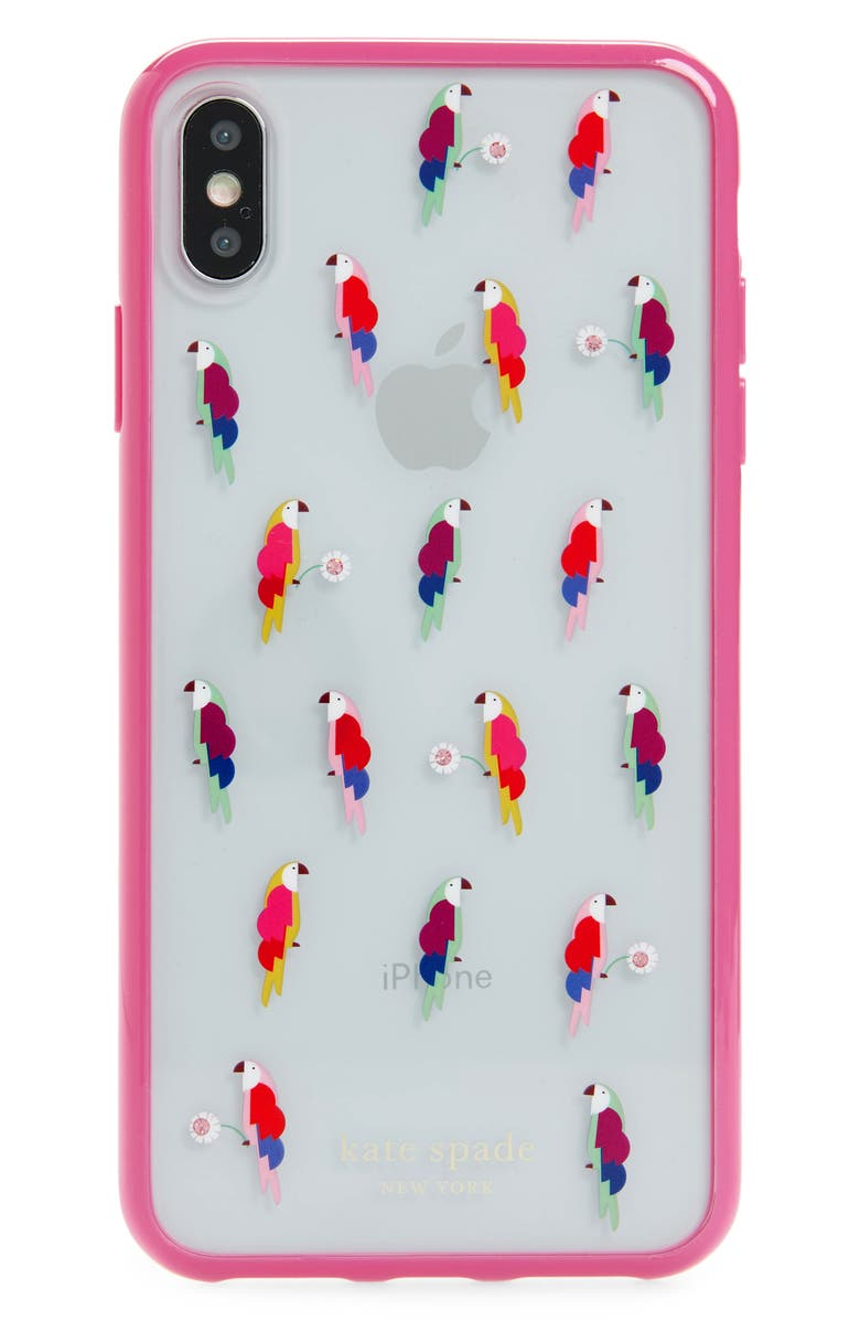 KATE SPADE NEW YORK jeweled flock party iPhone X/Xs/Xs Max & XR case, Main, color, MULTI