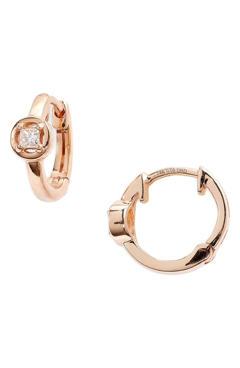 DANA REBECCA DESIGNS Millie Ryan Bezeled Diamond Halo Huggie Earrings, Main, color, ROSE GOLD/ DIAMOND