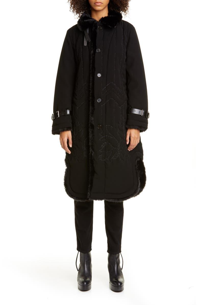 NOIR KEI NINOMIYA Faux Fur Lined Embroidered Coat, Main, color, BLACK