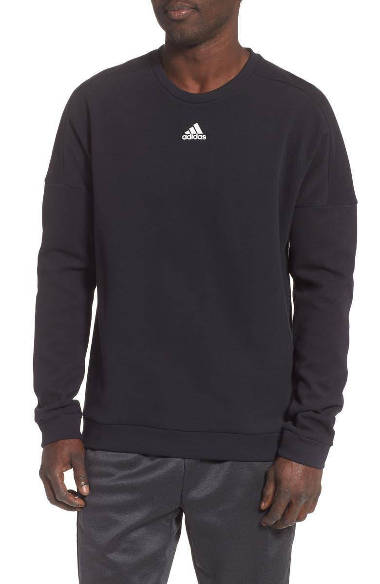 ADIDAS 3-Stripes Crewneck Sweatshirt, Main, color, BLACK