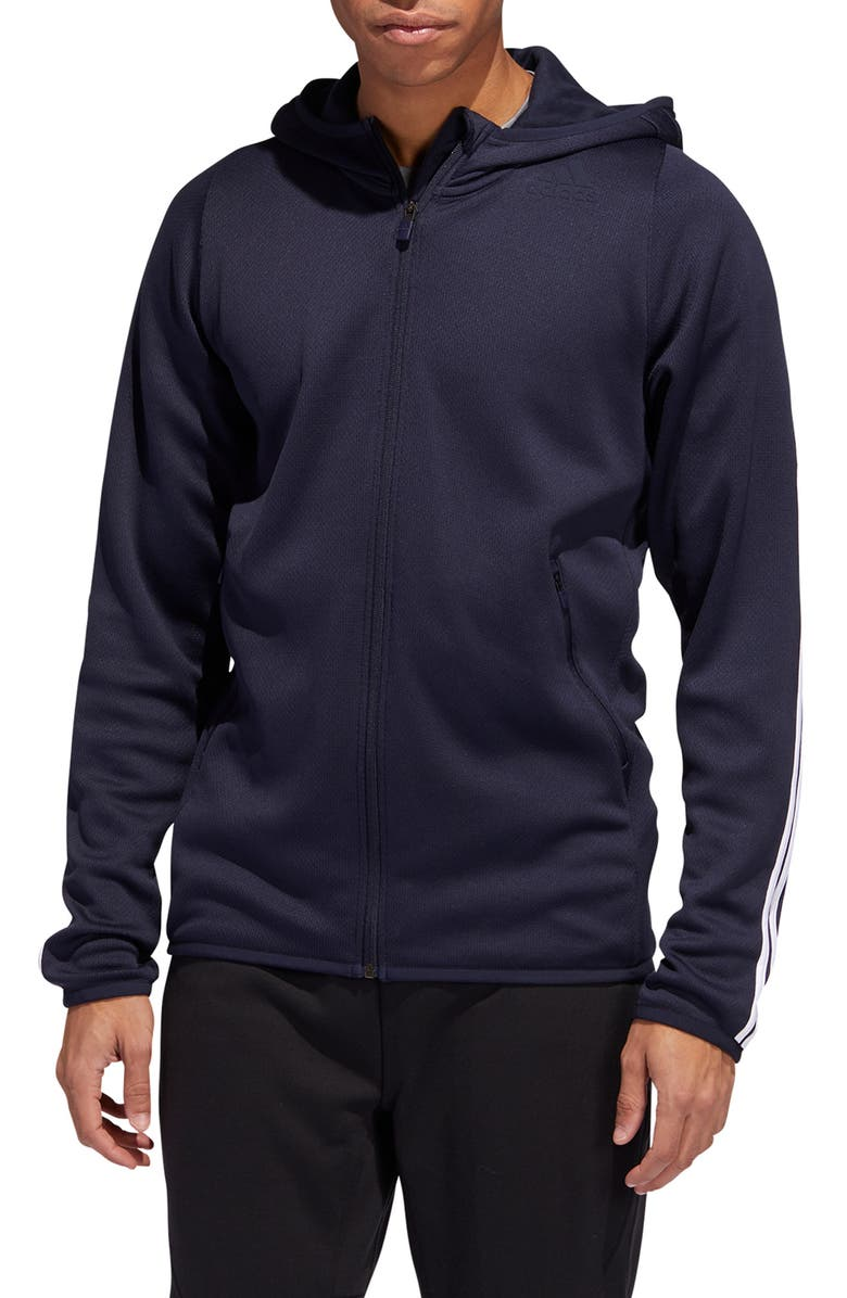 ADIDAS Daily 3-Stripe Zip Hoodie, Main, color, 408