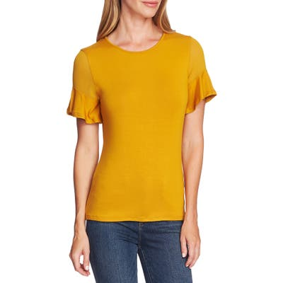 Vince Camuto Mix Media Flutter Sleeve Top, Yellow