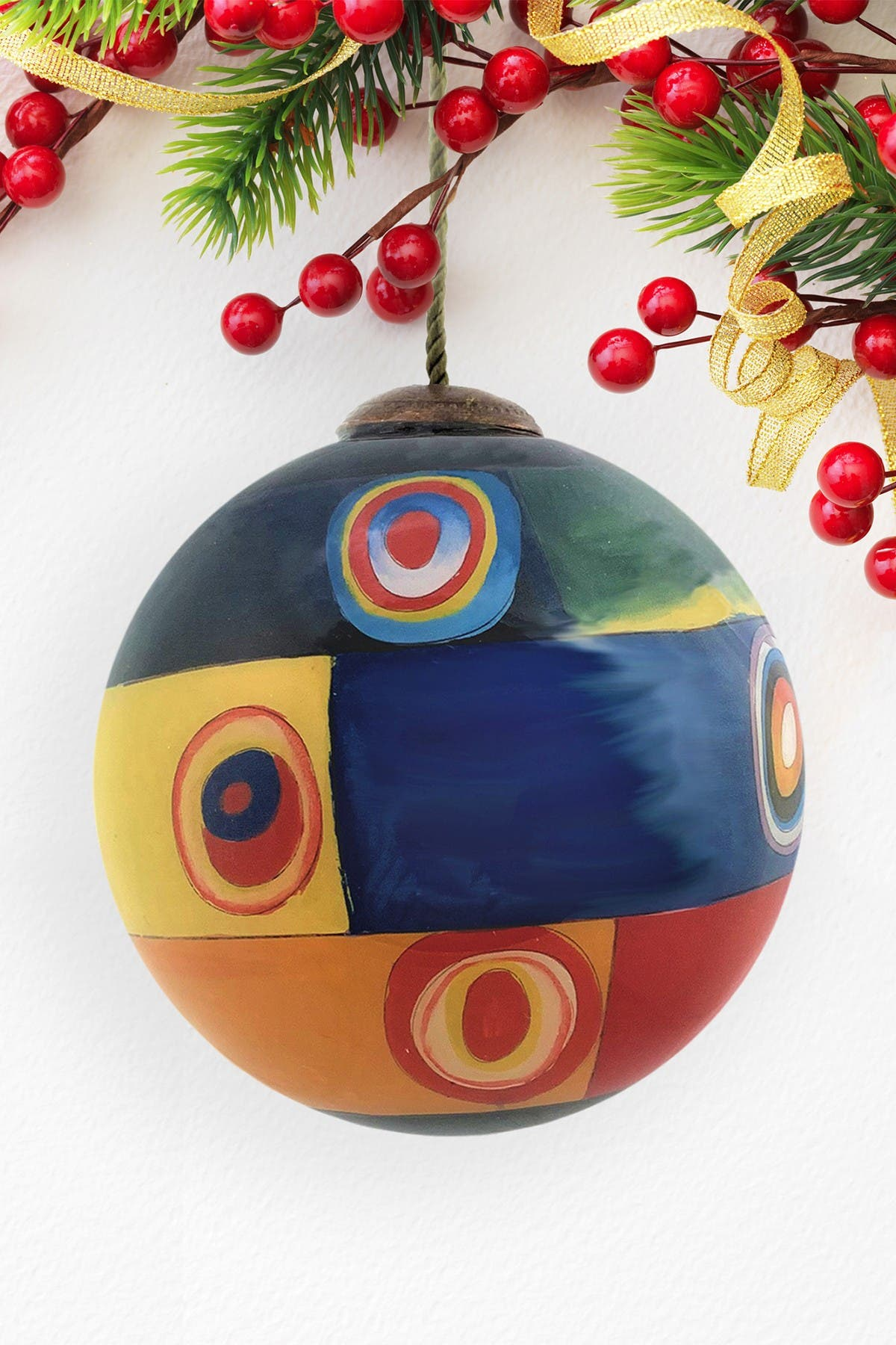 """Image of Overstock Art """"Farbstudie Quadrate"""" Wassily Kandinsky Hand Painted Glass Ornament Collection - Set of 6"""