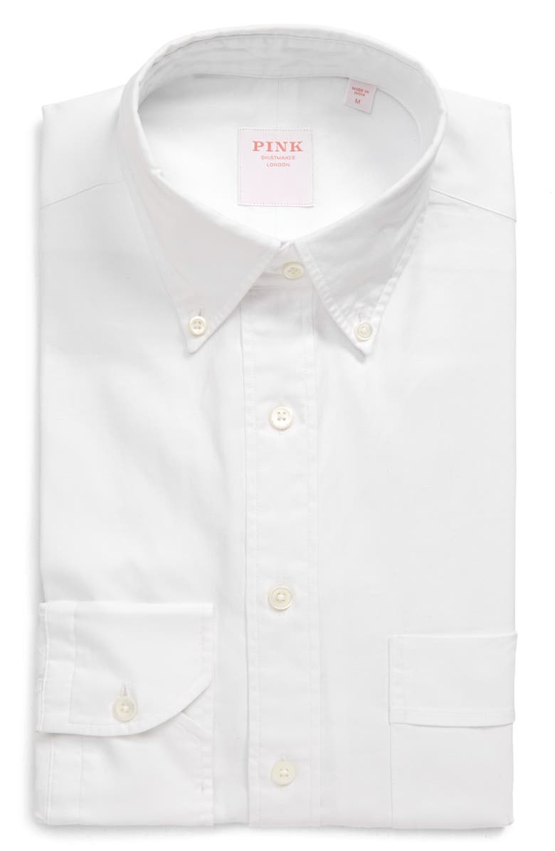 THOMAS PINK Weekend Trim Fit Oxford Button-Down Shirt, Main, color, 100