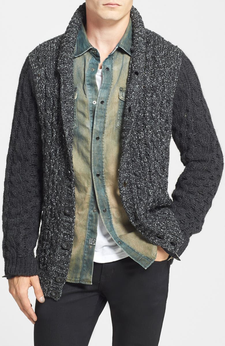 DIESEL<SUP>®</SUP> 'K-Likita' Cable Knit Shawl Collar Cardigan, Main, color, 001