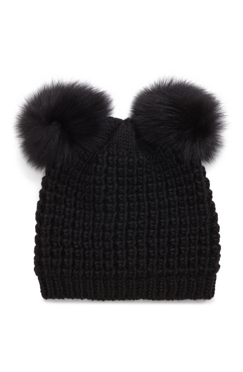 KYI KYI Genuine Fox Fur Pompoms Hat, Main, color, 001