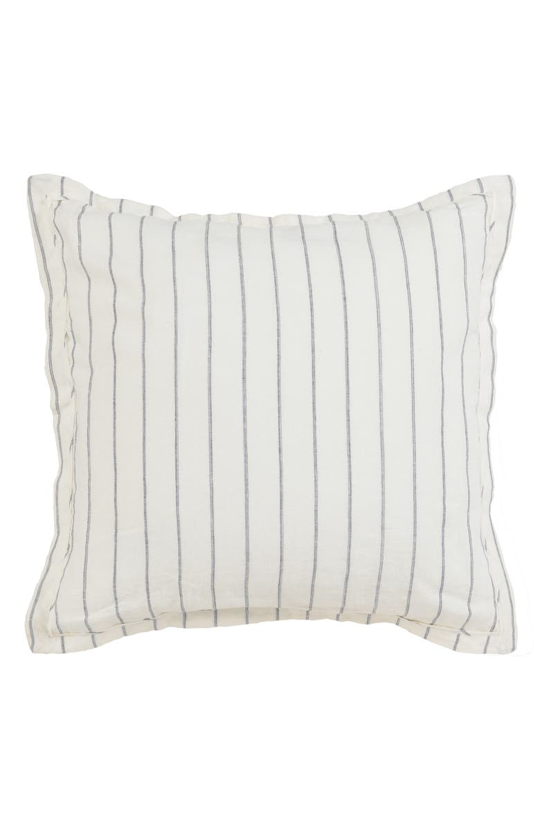VILLA HOME COLLECTION Pinstripe Euro Sham, Main, color, IVORY/ CHARCOAL