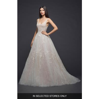 Lazaro Embellished Tulle Gown, Size IN STORE ONLY - Pink