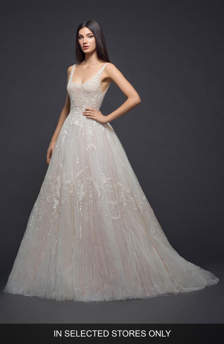 LAZARO Embellished Tulle Gown, Main, color, SHERBET