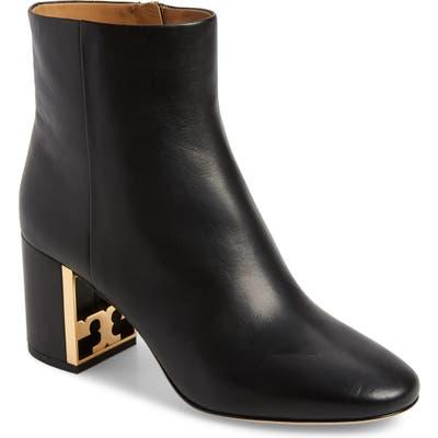 Tory Burch Gigi Logo Heel Bootie- Black