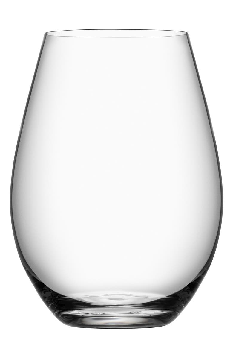 ORREFORS 'More' Stemless Wine Glasses, Main, color, WHITE
