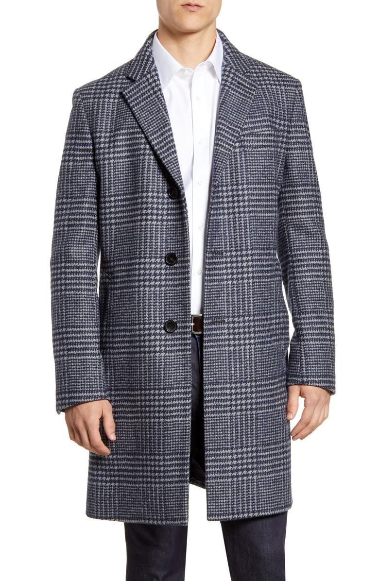 BOSS Nye2 Plaid Wool & Alpaca Blend Coat, Main, color, NAVY GREY PLAID