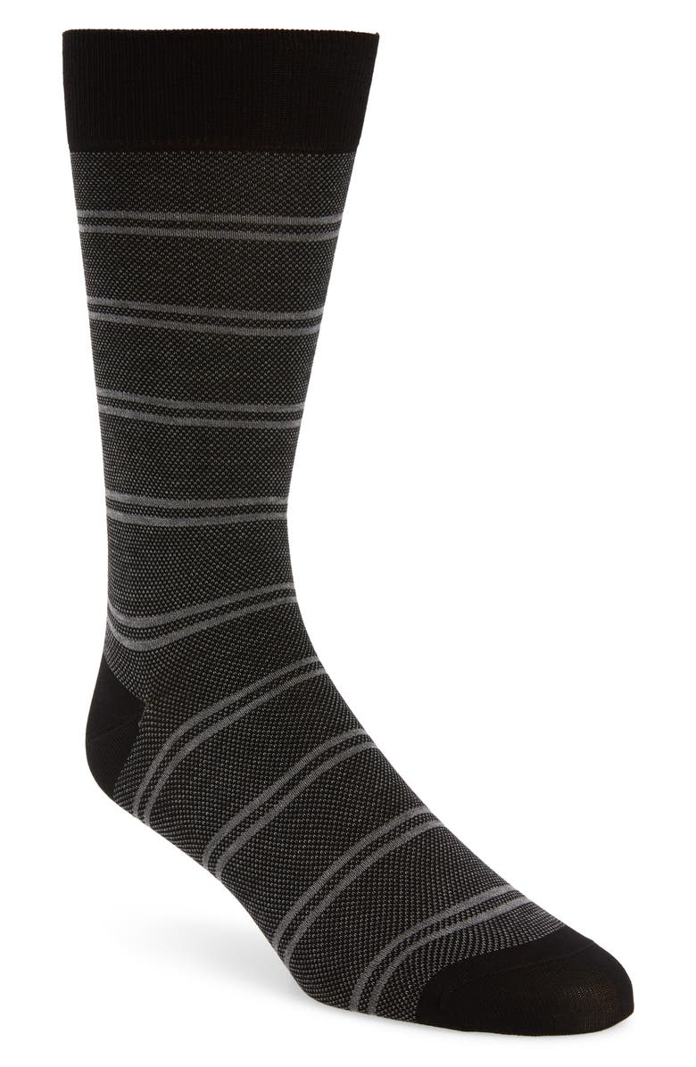 PANTHERELLA Bird's Eye Stripe Socks, Main, color, 001