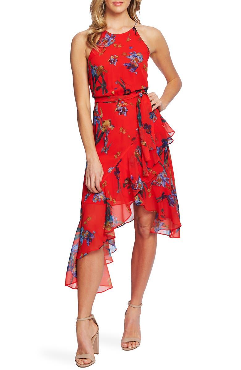 CECE Floral Print Asymmetrical Dress, Main, color, FIERYRED