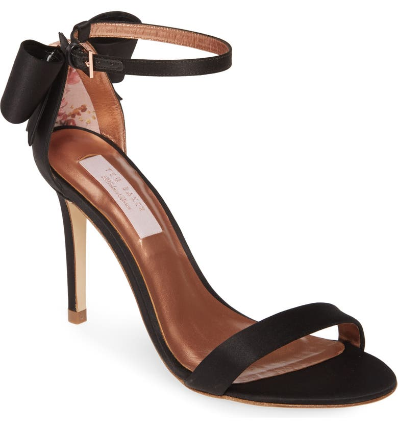 TED BAKER LONDON Bowtifl Sandal, Main, color, BLACK SATIN