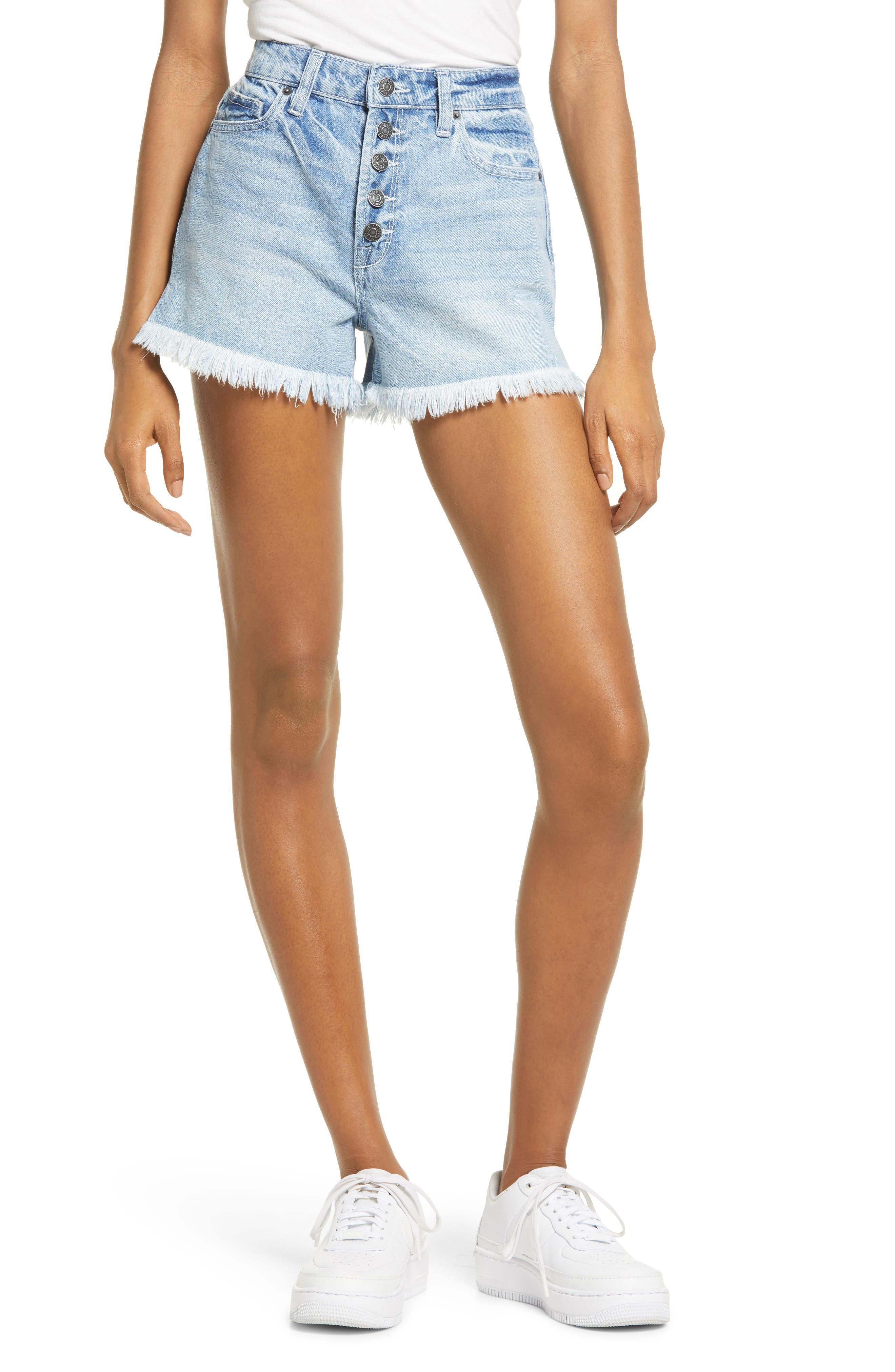 Button Fly High Waist Frayed Hem Denim Shorts