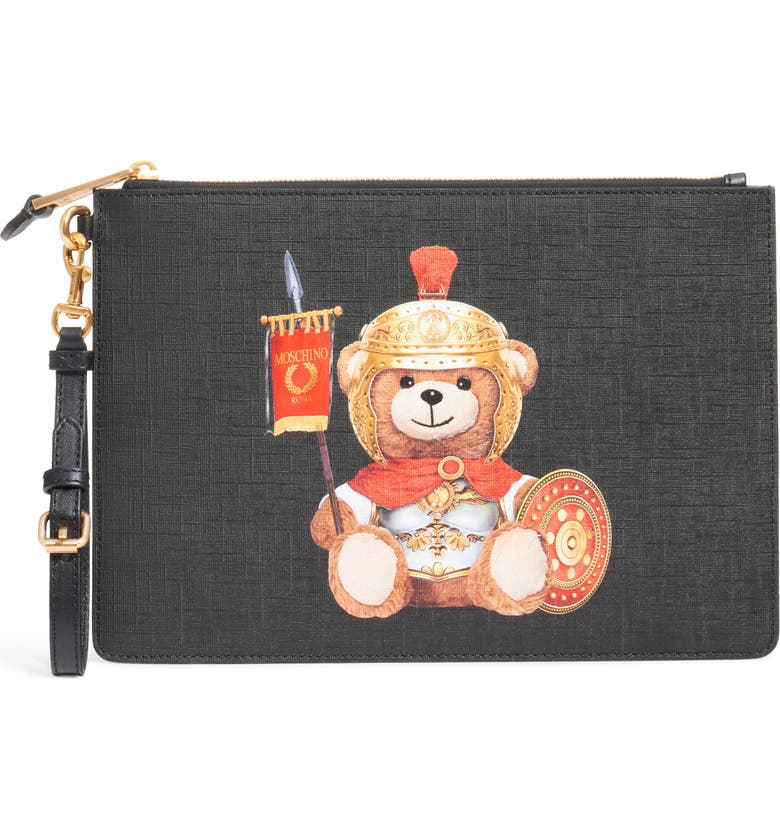 MOSCHINO Gladiator Teddy Pouch, Main, color, FANTASY PRINT BLACK