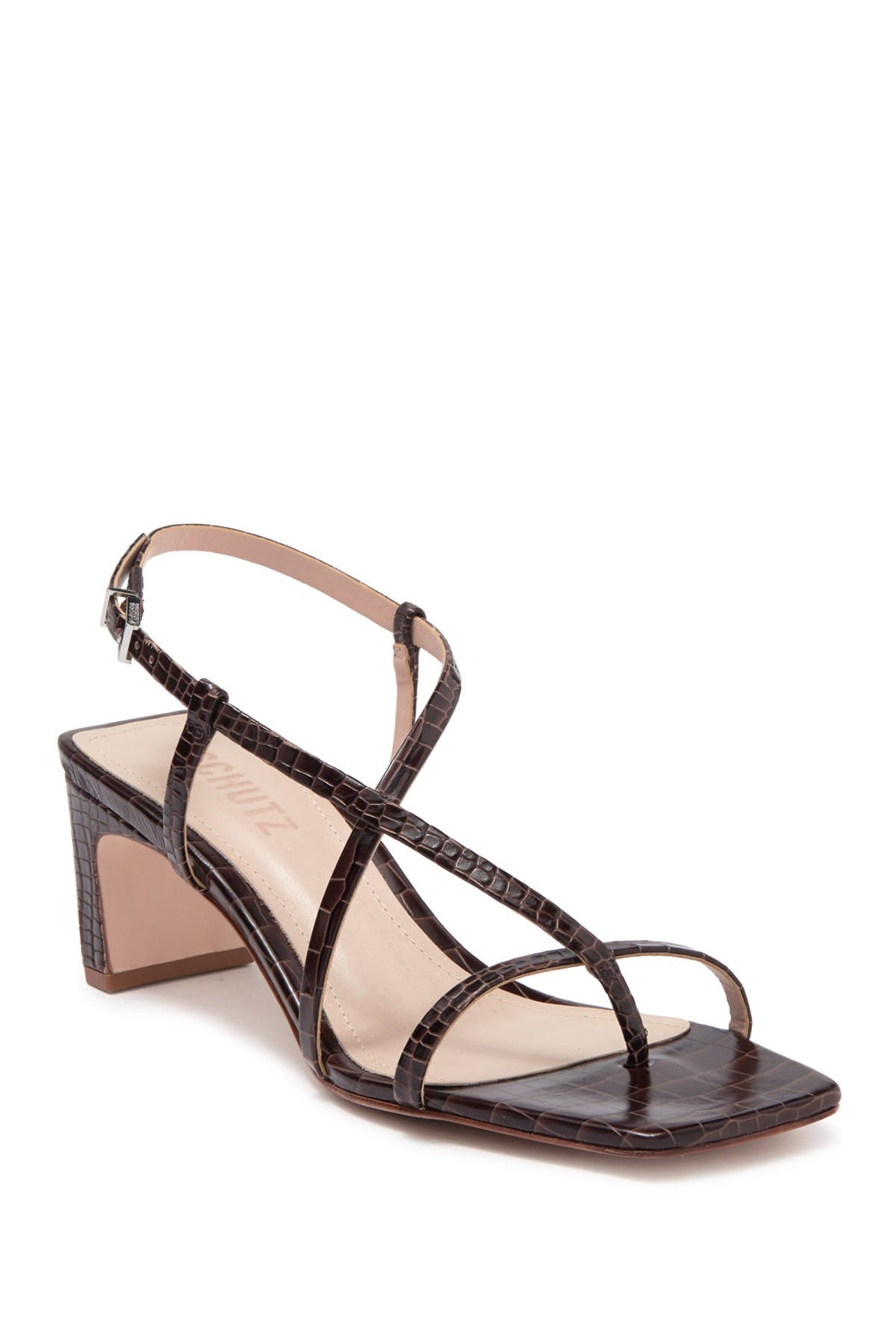 Image of Schutz Kagenia Snakeskin Embossed Strappy Leather Sandal