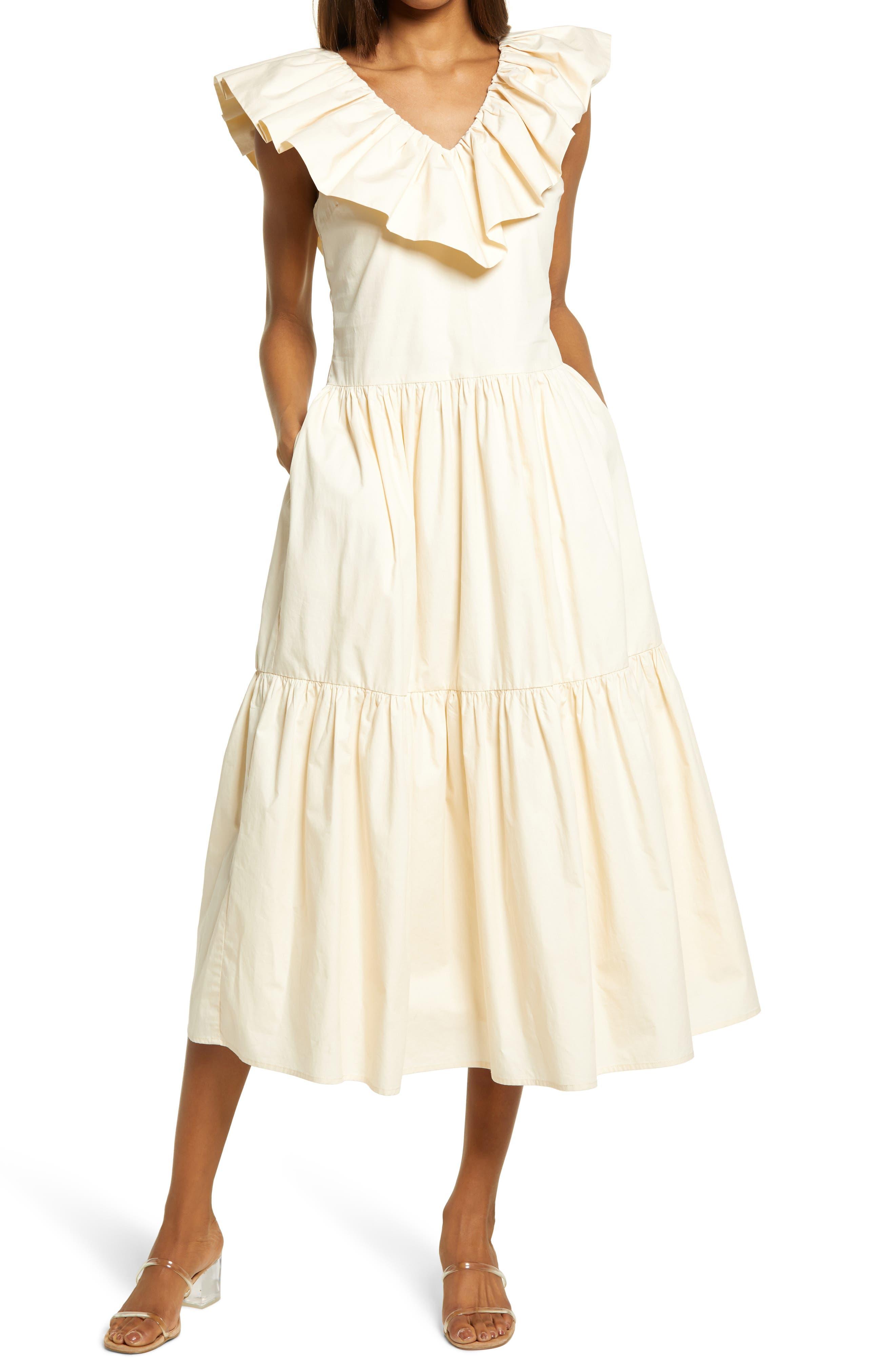Ruffle V-Neck Cotton Dress