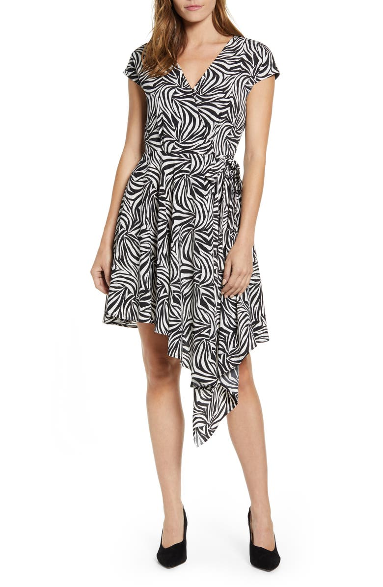 Vince Camuto Zebra Print Asymmetrical Wrap Dress