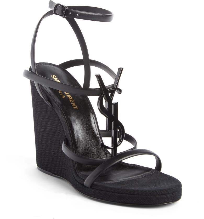 SAINT LAURENT Cassandra YSL Wedge Sandal, Main, color, CHROME BLACK