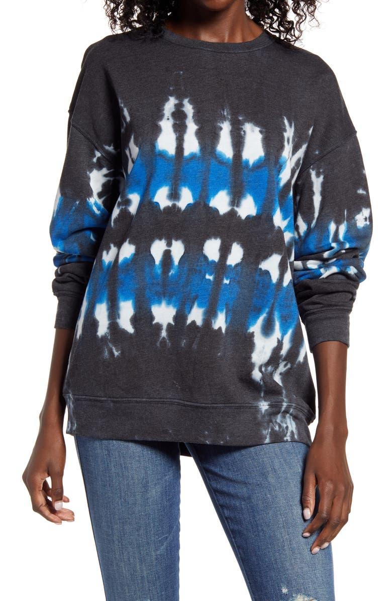TREASURE & BOND Tie Dye Cotton Blend Sweatshirt, Main, color, CHARCOAL- BLUE COMBO