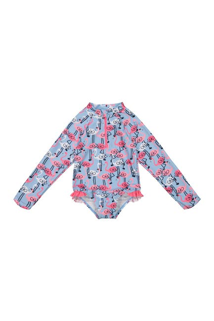 Image of Andy & Evan Ruffle Flamingo Long Sleeve One-Piece Swimsuit