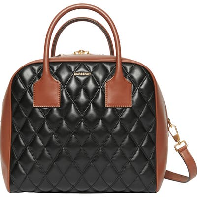 Burberry Medium Cube Quilted Leather Satchel - Black