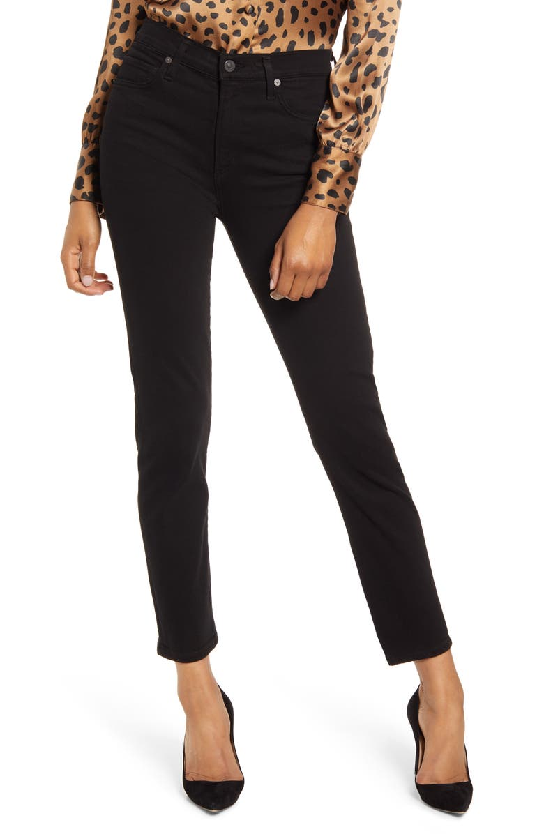 CITIZENS OF HUMANITY Harlow High Waist Ankle Slim Cut Jeans, Main, color, PLUSH BLACK