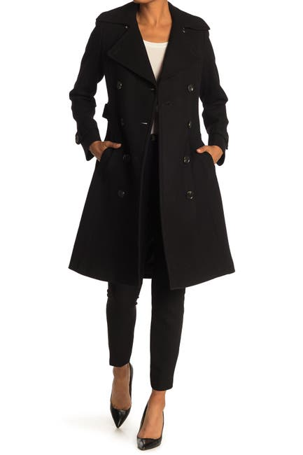 Image of Michael Kors Belted Double Breasted Wool Blend Trench Coat