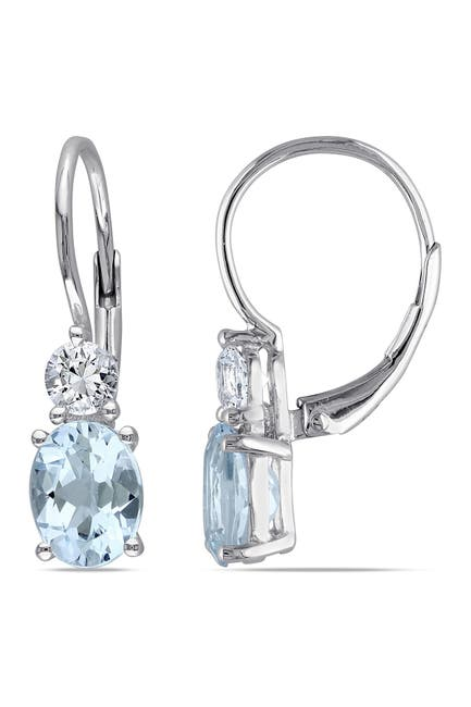 Image of Delmar Sterling Silver Prong Set Sky Blue Topaz & Created White Sapphire Double Drop Earrings