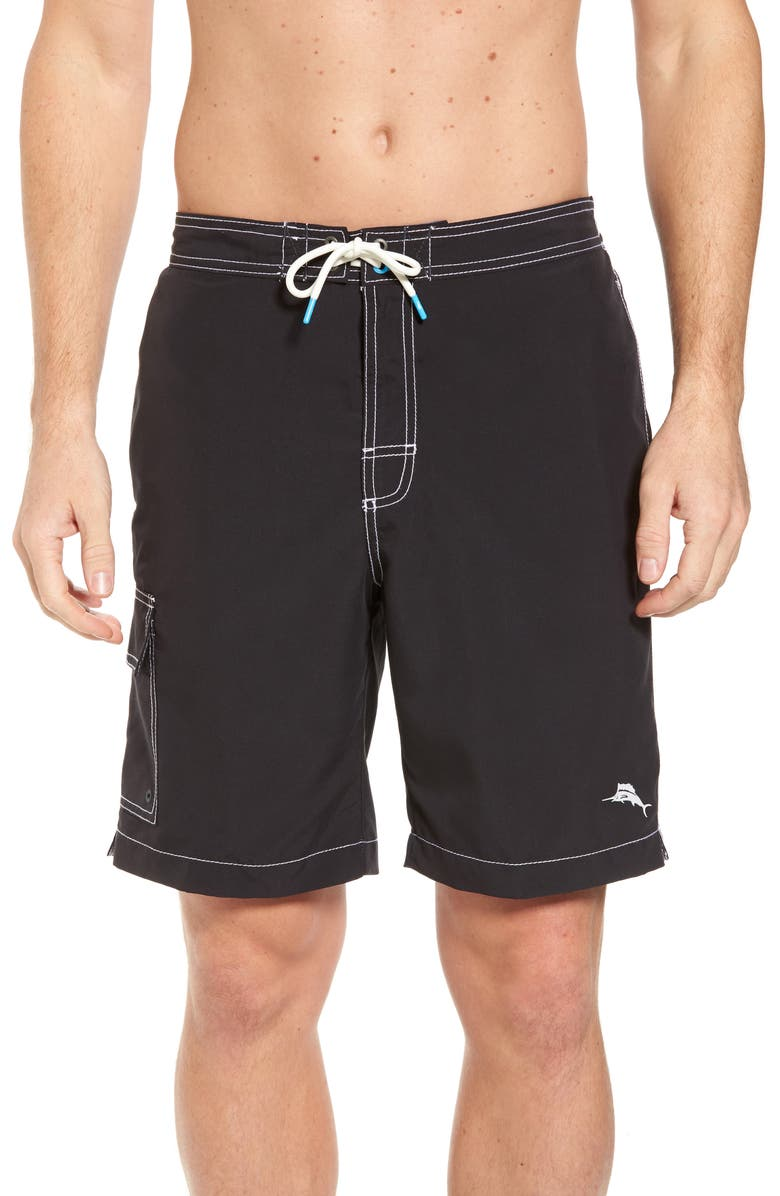TOMMY BAHAMA Baja Beach Board Shorts, Main, color, BLACK