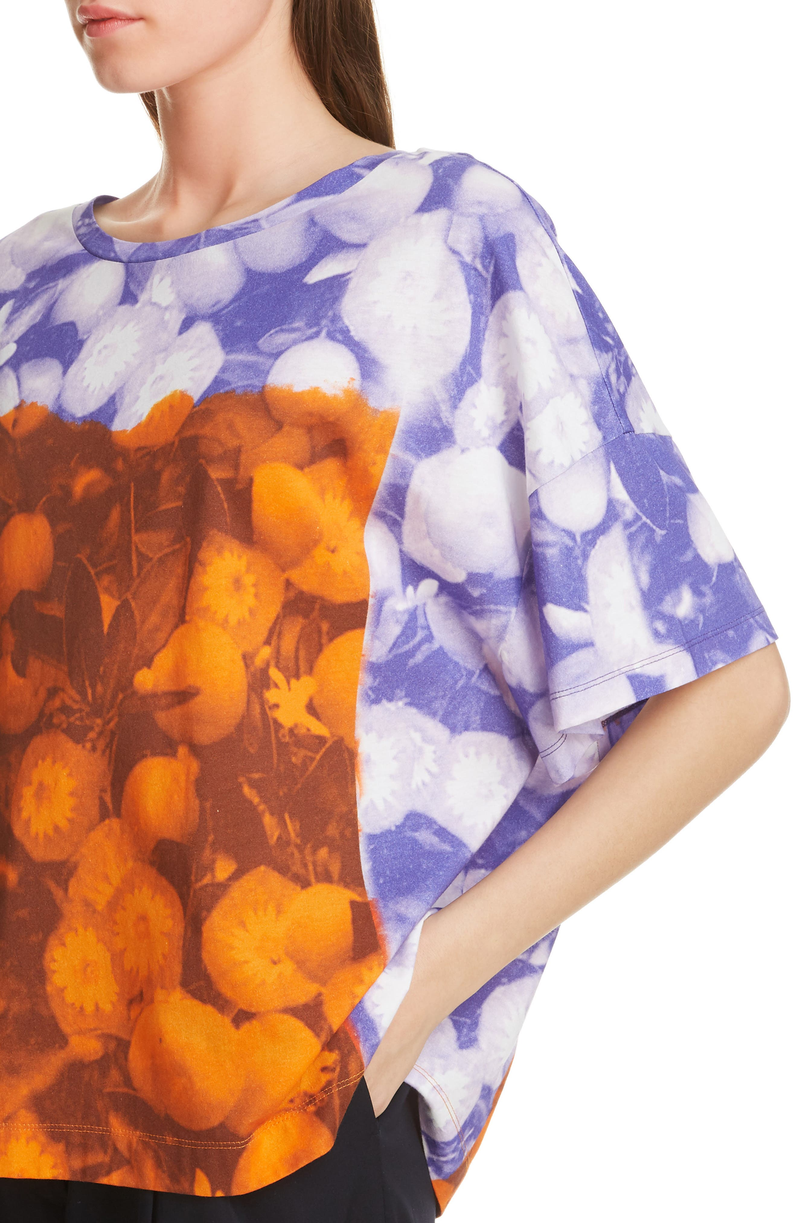 ,                             Hebola Print Cotton Tee,                             Alternate thumbnail 4, color,                             976-DES.B