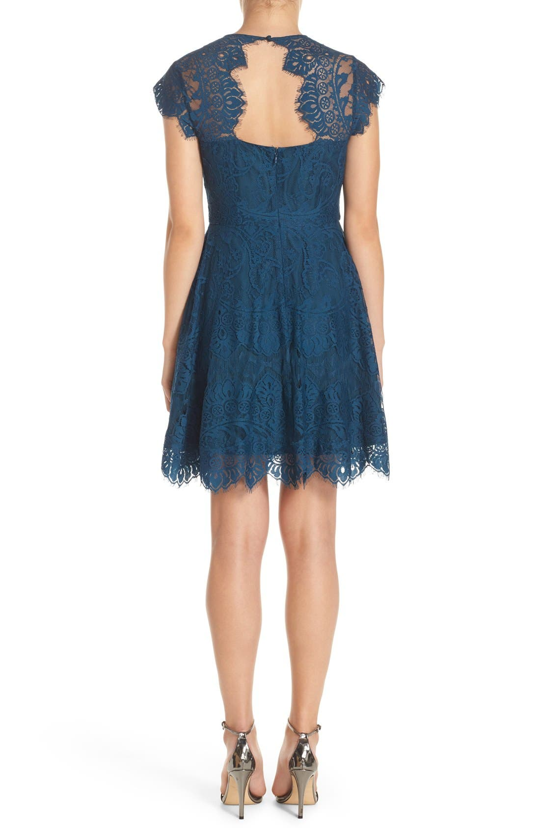 ,                             Rhianna Open Back Lace Fit & Flare Cocktail Dress,                             Alternate thumbnail 43, color,                             424