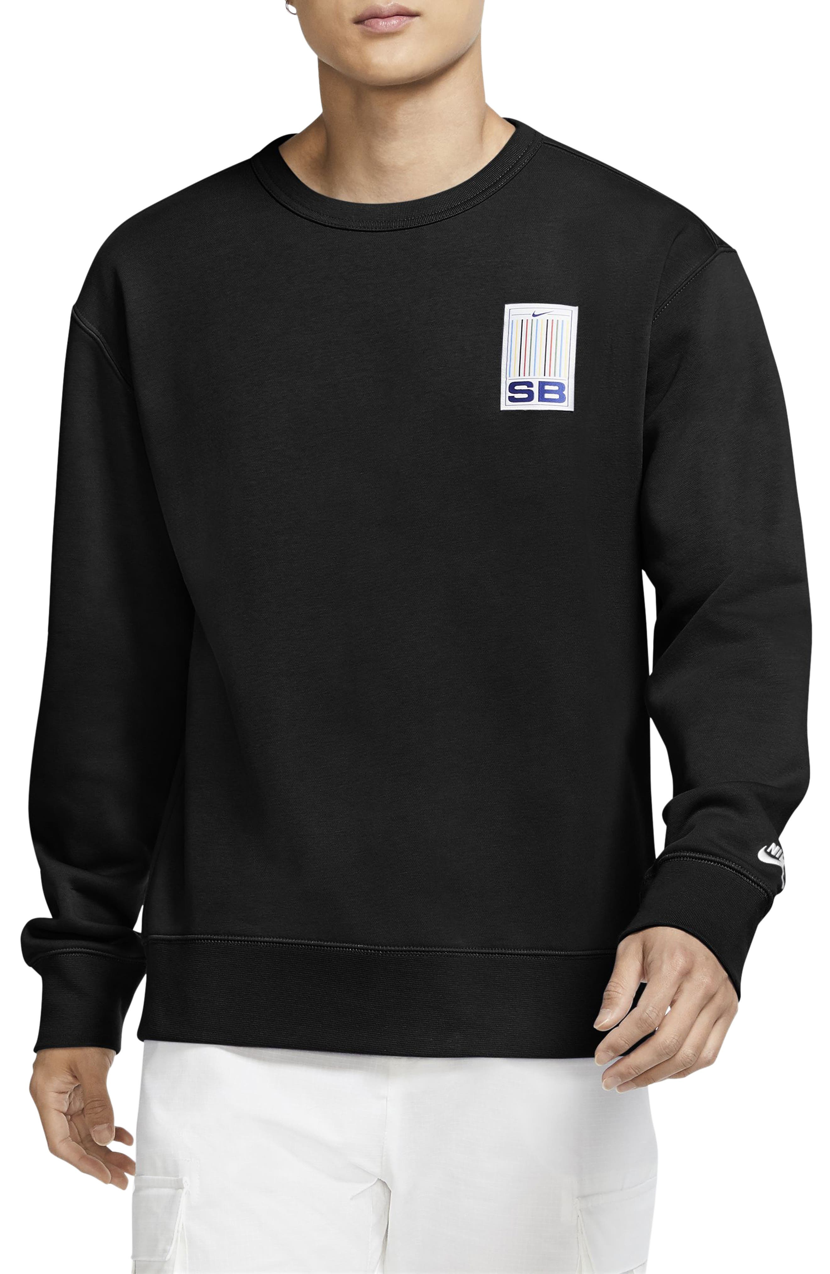 Supersoft fleece brings undeniable comfort to a relaxed crewneck sweatshirt with a colorfully striped logo patch at the chest. Style Name: Nike Stripes Crewneck Sweatshirt. Style Number: 6010377. Available in stores.