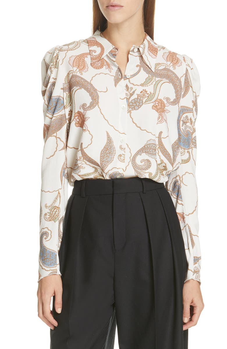 SEE BY CHLOÉ Paisley Puff Sleeve Blouse, Main, color, NATURAL