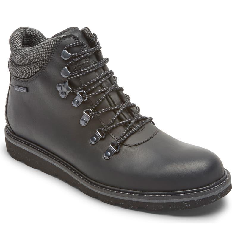 ROCKPORT Storm Front Alpine Waterproof Plain Toe Boot, Main, color, BLACK LEATHER