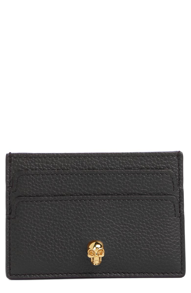 ALEXANDER MCQUEEN Leather Card Holder, Main, color, 001