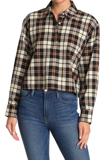Image of Current/Elliott The Mets Plaid Crop Top