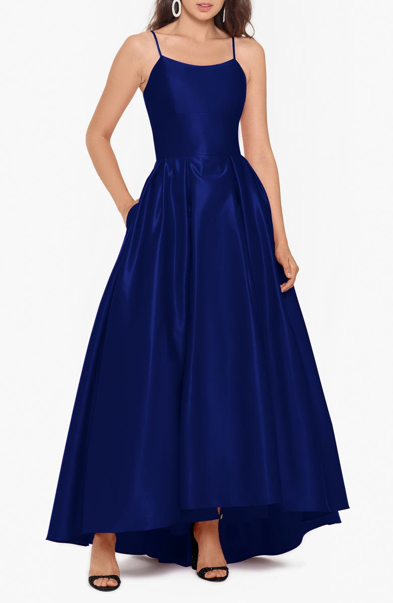 BETSY & ADAM High/Low Satin Ballgown, Main, color, ROYAL