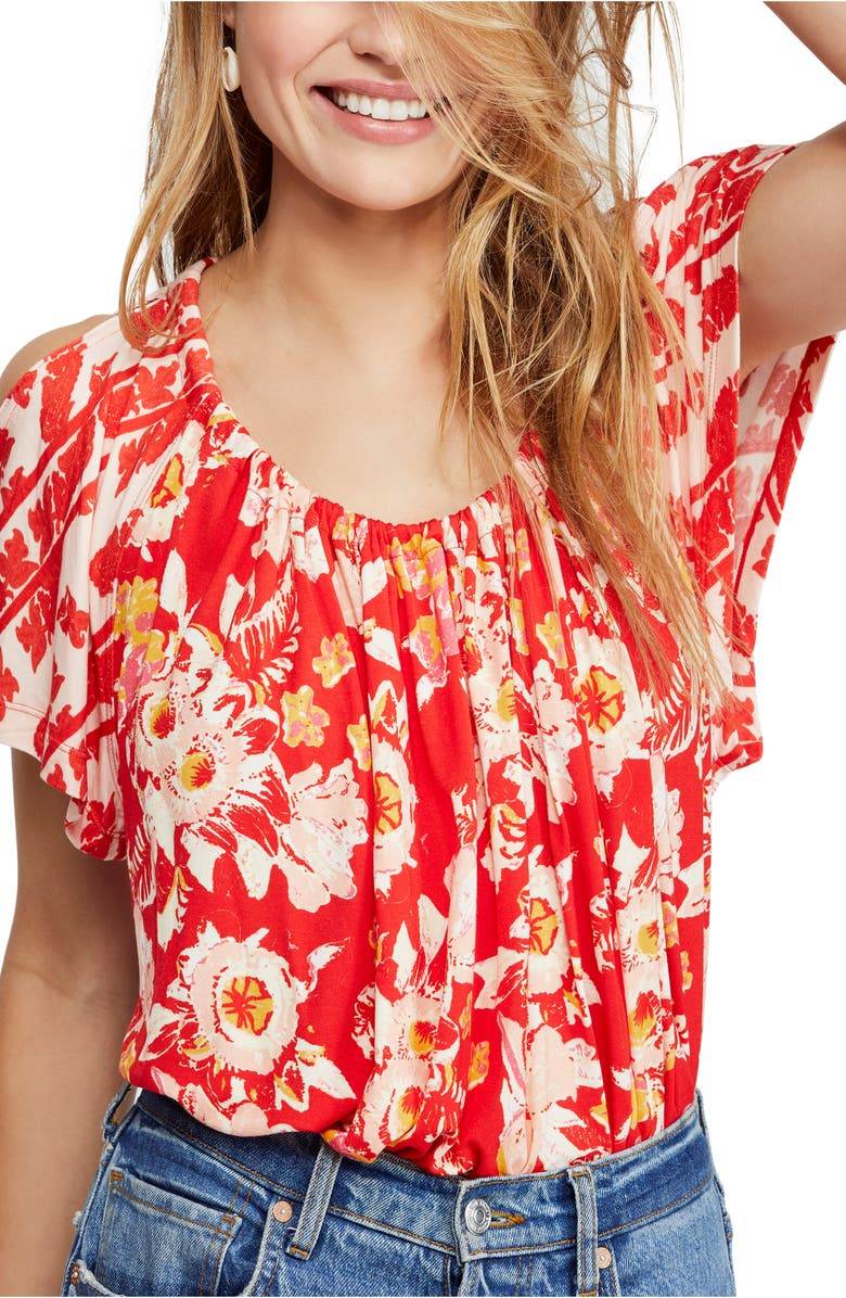 FREE PEOPLE Baja Babe Cold Shoulder Blouse, Main, color, RED