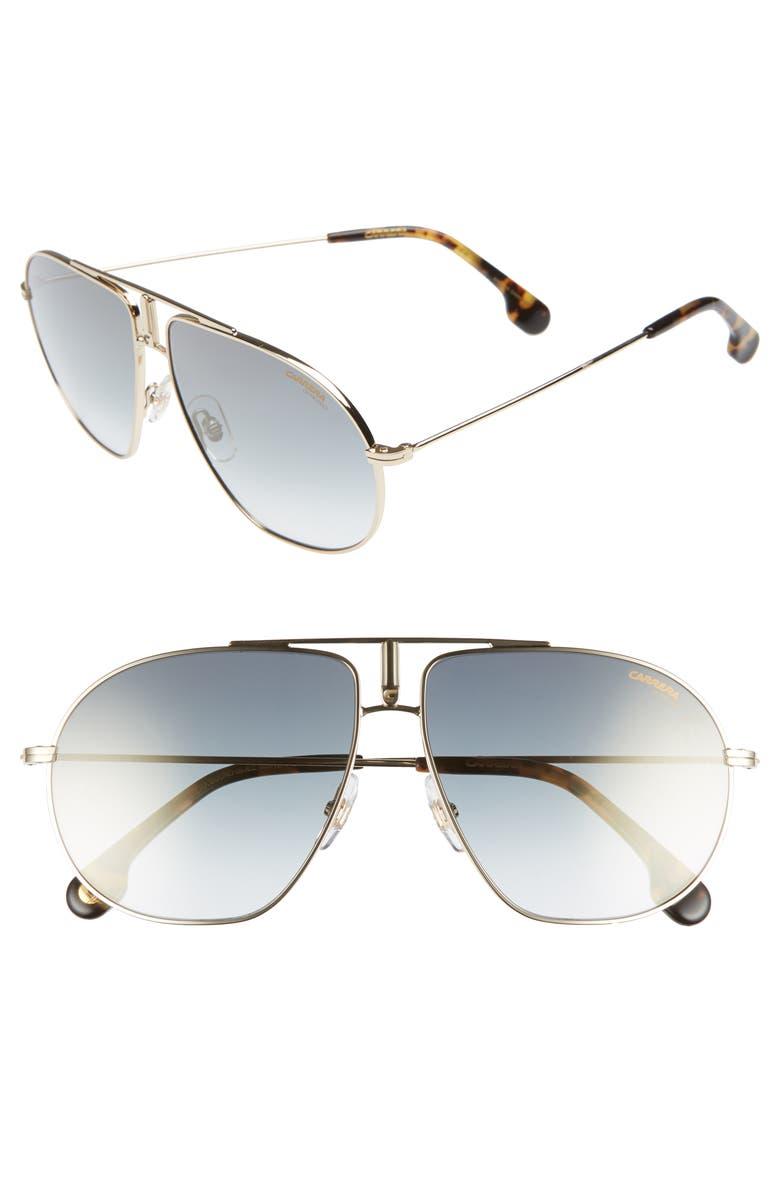 CARRERA EYEWEAR Bounds 60mm Gradient Aviator Sunglasses, Main, color, GOLD
