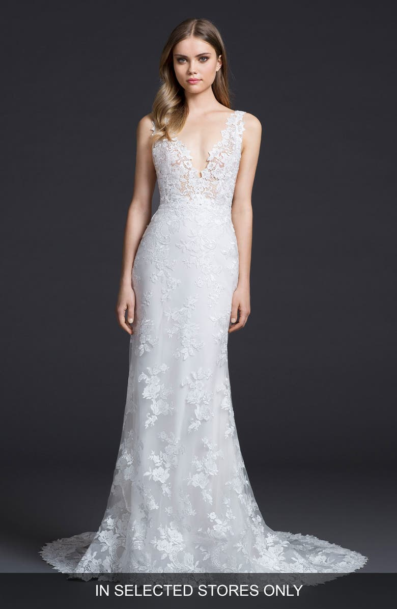 LAZARO Venice Lace Sheath Gown, Main, color, IVORY