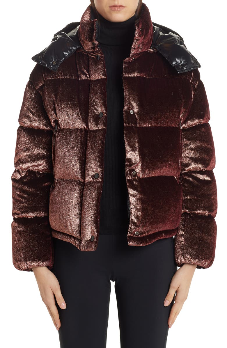 MONCLER Caille Glitter Velvet Quilted Down Puffer Coat, Main, color, ROSE GOLD