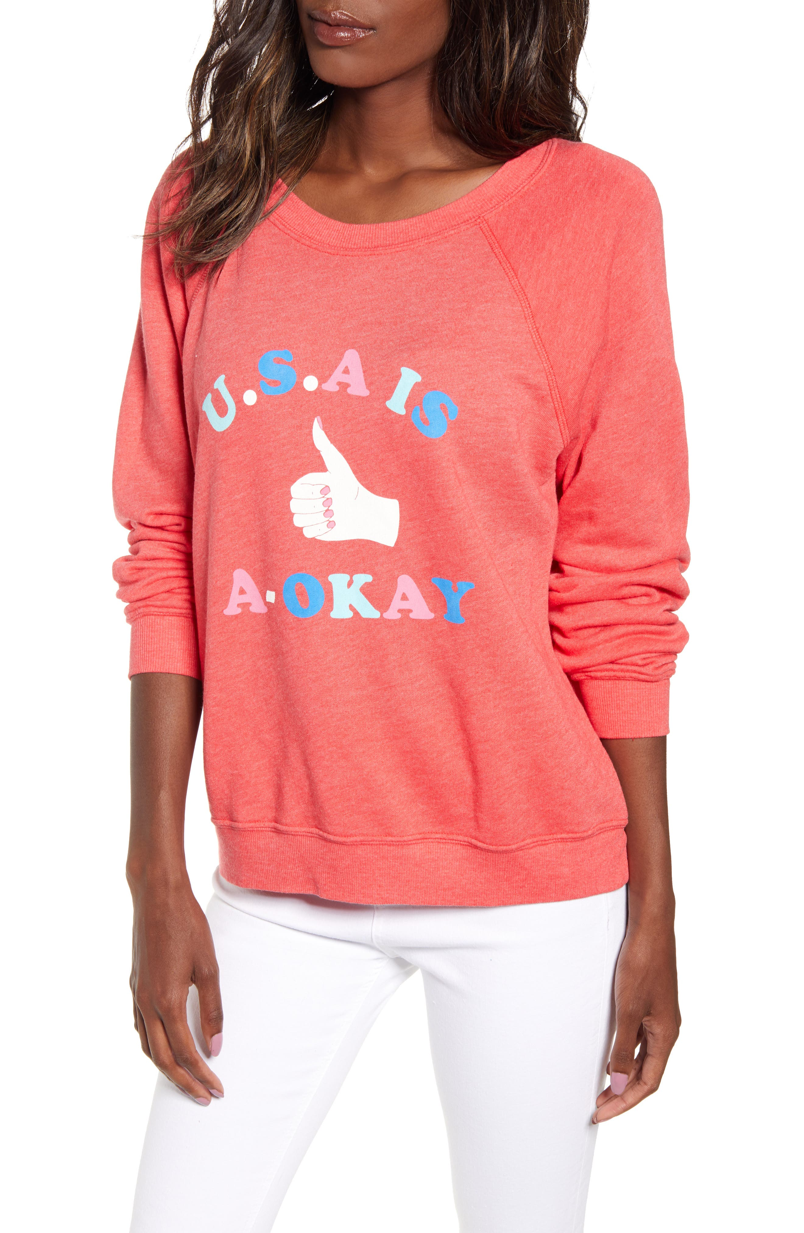 Wildfox Usa Is A-Okay Sommers Sweatshirt, Red