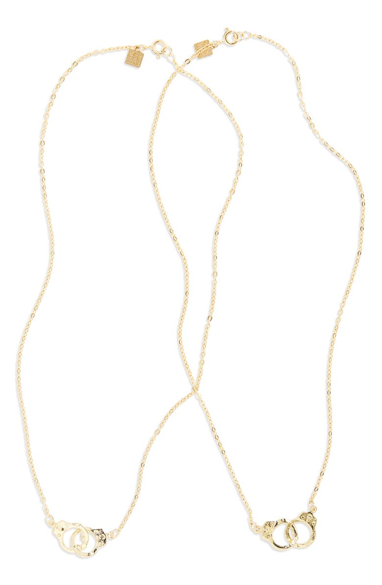 ALL THE WIRE Partners In Crime Set of 2 Necklaces, Main, color, BRASS/GOLD