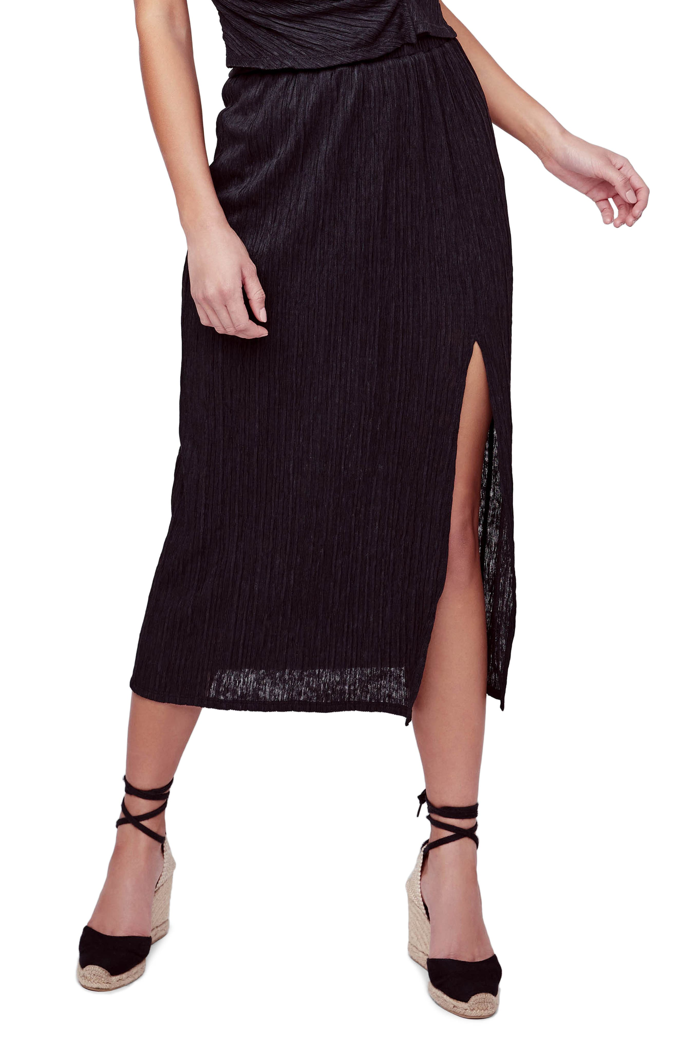 Astr The Label Plisse Midi Skirt, Black
