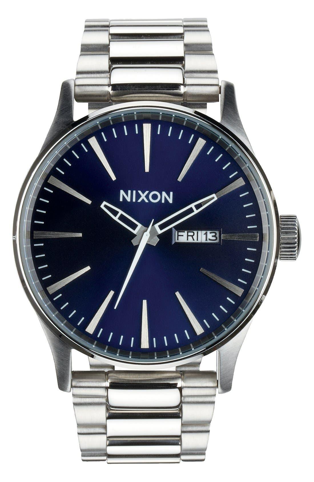 ,                             Sentry Bracelet Watch, 42mm,                             Alternate thumbnail 4, color,                             SILVER/ BLUE SUNRAY