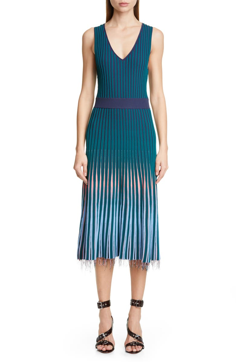 ALTUZARRA V-Neck Rib Sweater Dress, Main, color, SPRUCE